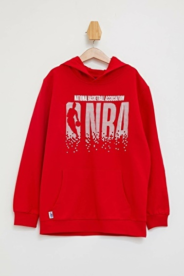 DeFacto NBA Lisansli Kapüşonlu Sweatshirt Kırmızı